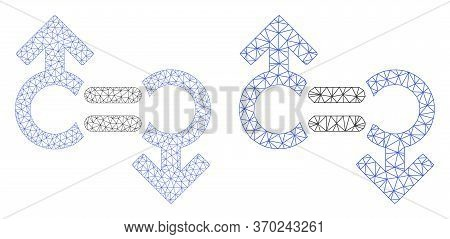 Mesh Vector Gay Relation Symbol Icon. Polygonal Wireframe Gay Relation Symbol Image In Low Poly Styl