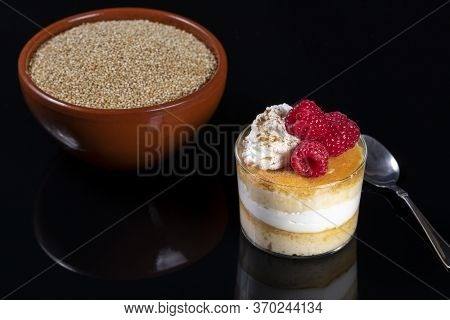 Quinoa Flan With Cream And Raspberries. Healthy Homemade Dessert Rich In Protein, Vitamins, Omega 3