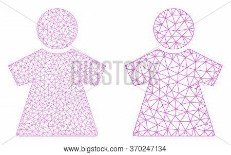 Polygonal Vector Girl Icon. Polygonal Carcass Girl Image In Low Poly Style With Structured Triangles