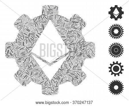 Hatch Mosaic Based On Ethereum Cog Wheel Icon. Mosaic Vector Ethereum Cog Wheel Is Created With Scat