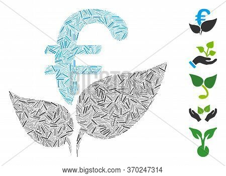 Dash Mosaic Based On Euro Agriculture Startup Icon. Mosaic Vector Euro Agriculture Startup Is Design