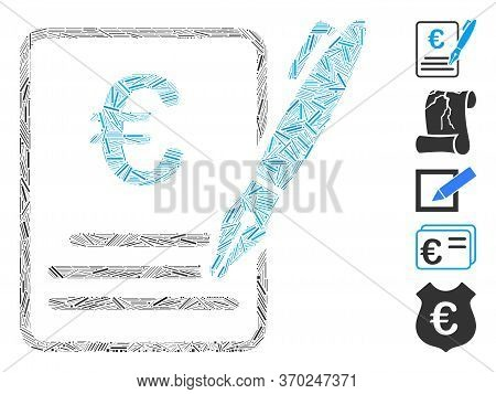 Line Mosaic Based On Euro Contract Signature Icon. Mosaic Vector Euro Contract Signature Is Composed