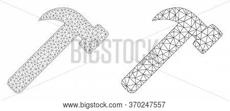 Mesh Vector Hammer Tool Icon. Mesh Wireframe Hammer Tool Image In Low Poly Style With Combined Trian