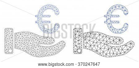 Mesh Vector Hand Give Euro Icon. Mesh Carcass Hand Give Euro Image In Lowpoly Style With Structured