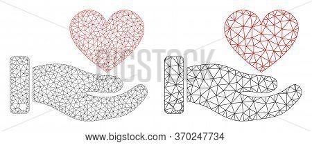 Mesh Vector Hand Offer Love Heart Icon. Mesh Wireframe Hand Offer Love Heart Image In Lowpoly Style
