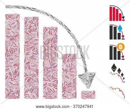 Line Mosaic Based On Falling Acceleration Chart Icon. Mosaic Vector Falling Acceleration Chart Is Cr