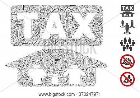 Dash Mosaic Based On Family Tax Pressure Icon. Mosaic Vector Family Tax Pressure Is Formed With Rand