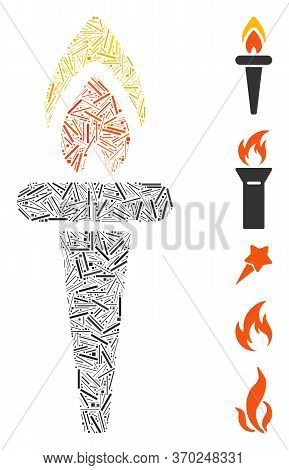 Line Mosaic Based On Fire Torch Icon. Mosaic Vector Fire Torch Is Composed With Randomized Line Elem