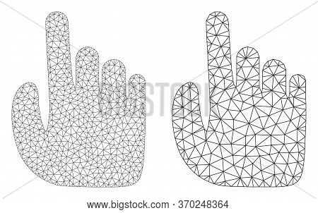 Mesh Vector Index Finger Icon. Mesh Wireframe Index Finger Image In Lowpoly Style With Structured Tr