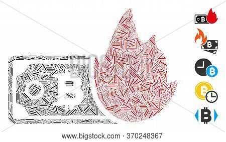Dash Mosaic Based On Fired Bitcoin Banknote Icon. Mosaic Vector Fired Bitcoin Banknote Is Created Wi