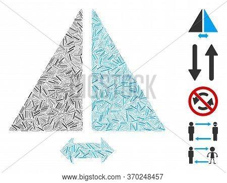 Line Mosaic Based On Flip Horizontally Icon. Mosaic Vector Flip Horizontally Is Formed With Randomiz