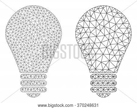 Net Vector Lamp Bulb Icon. Mesh Wireframe Lamp Bulb Image In Lowpoly Style With Connected Triangles,