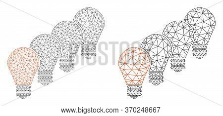 Polygonal Vector Lamp Bulbs Icon. Mesh Wireframe Lamp Bulbs Image In Lowpoly Style With Combined Tri