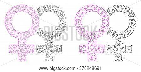 Mesh Vector Lesbian Couple Symbol Icon. Mesh Wireframe Lesbian Couple Symbol Image In Low Poly Style
