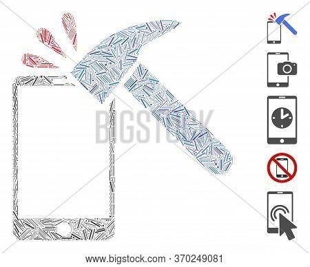 Dash Mosaic Based On Hammer Break Smartphone Icon. Mosaic Vector Hammer Break Smartphone Is Composed