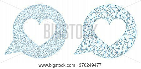 Net Vector Love Heart Message Icon. Mesh Carcass Love Heart Message Image In Low Poly Style With Con