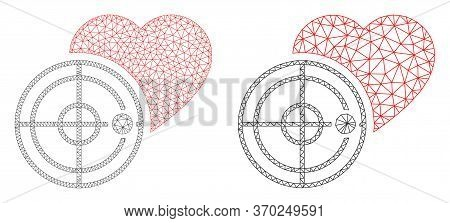 Polygonal Vector Love Heart Radar Icon. Mesh Wireframe Love Heart Radar Image In Lowpoly Style With