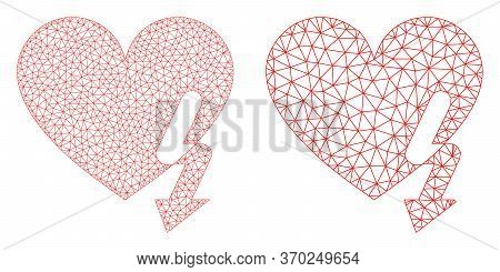 Mesh Vector Love Heart Strike Icon. Mesh Carcass Love Heart Strike Image In Low Poly Style With Orga