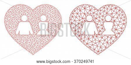 Mesh Vector Love Heart Icon. Mesh Carcass Love Heart Image In Low Poly Style With Structured Triangl