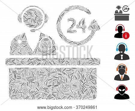 Line Mosaic Based On Hospital Reception Desk Icon. Mosaic Vector Hospital Reception Desk Is Designed
