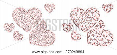 Mesh Vector Love Hearts Icon. Mesh Carcass Love Hearts Image In Lowpoly Style With Structured Triang