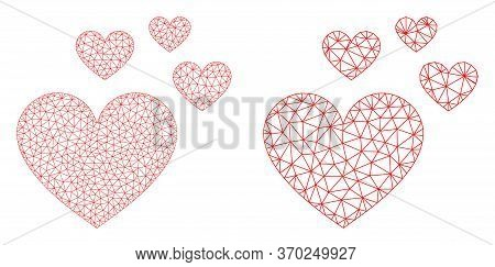 Mesh Vector Love Hearts Icon. Mesh Wireframe Love Hearts Image In Lowpoly Style With Connected Trian