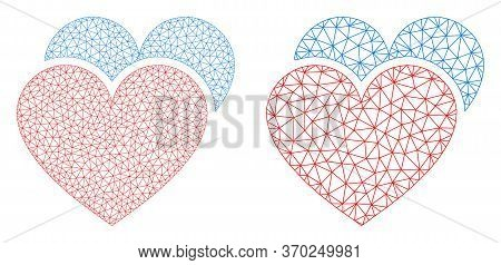 Mesh Vector Love Hearts Icon. Mesh Carcass Love Hearts Image In Lowpoly Style With Connected Triangl