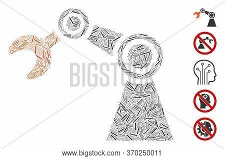 Hatch Mosaic Based On Industrial Manipulator Icon. Mosaic Vector Industrial Manipulator Is Created W