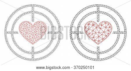 Mesh Vector Love Target Icon. Mesh Wireframe Love Target Image In Low Poly Style With Organized Tria