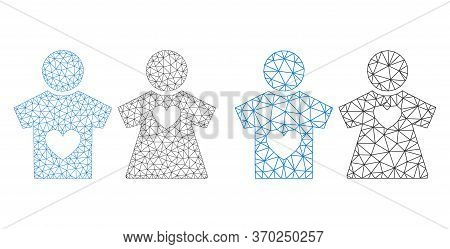 Mesh Vector Lovers Pair Icon. Mesh Carcass Lovers Pair Image In Low Poly Style With Connected Triang