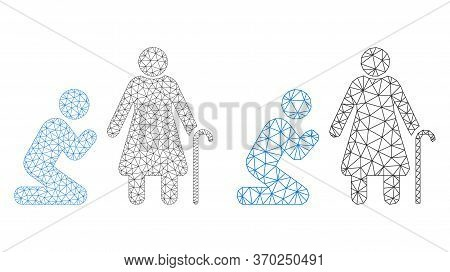 Mesh Vector Man Pray For Grandmother Icon. Mesh Carcass Man Pray For Grandmother Image In Low Poly S