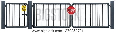 Vehicle Security Gate, Isolated Red Stop Sign, Yellow Biological Hazard Danger Warning Biohazard Sig