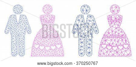 Mesh Vector Marriage Couple Icon. Mesh Carcass Marriage Couple Image In Low Poly Style With Connecte