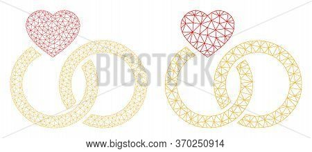 Network Vector Marriage Rings Icon. Mesh Wireframe Marriage Rings Image In Low Poly Style With Combi