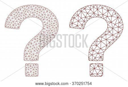 Triangular Vector Question Icon. Mesh Wireframe Question Image In Low Poly Style With Combined Trian