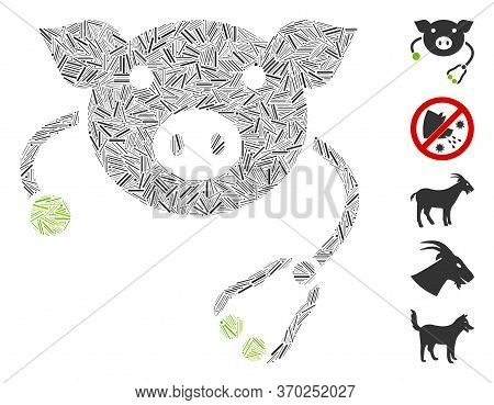 Dash Mosaic Based On Pig Veterinary Icon. Mosaic Vector Pig Veterinary Is Formed With Random Dash El