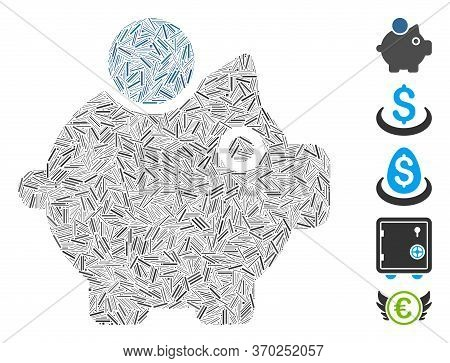 Line Mosaic Based On Piggy Bank Icon. Mosaic Vector Piggy Bank Is Designed With Scattered Line Spots
