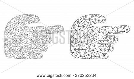 Mesh Vector Right Index Finger Icon. Mesh Wireframe Right Index Finger Image In Low Poly Style With