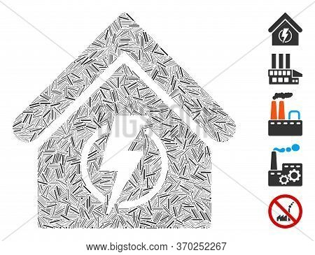 Line Mosaic Based On Power Supply Building Icon. Mosaic Vector Power Supply Building Is Created With