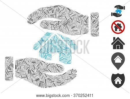 Line Mosaic Based On Realty Insurance Hands Icon. Mosaic Vector Realty Insurance Hands Is Formed Wit