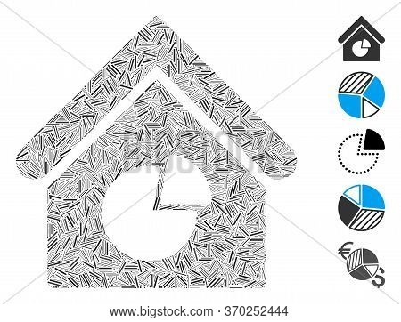 Dash Collage Based On Realty Pie Chart Icon. Mosaic Vector Realty Pie Chart Is Composed With Scatter