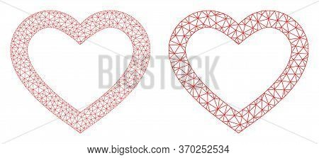 Network Vector Romantic Heart Icon. Mesh Carcass Romantic Heart Image In Lowpoly Style With Connecte