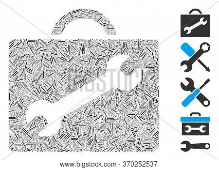 Line Mosaic Based On Repair Equipment Case Icon. Mosaic Vector Repair Equipment Case Is Formed With