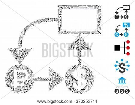 Line Mosaic Based On Rouble And Dollar Scheme Icon. Mosaic Vector Rouble And Dollar Scheme Is Create