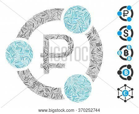 Line Mosaic Based On Rouble Collaboration Icon. Mosaic Vector Rouble Collaboration Is Composed With