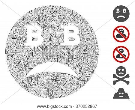 Line Mosaic Based On Sad Bitcoin Smiley Icon. Mosaic Vector Sad Bitcoin Smiley Is Created With Scatt