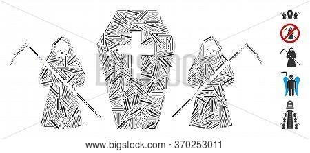 Line Mosaic Based On Scytheman Coffin Guard Icon. Mosaic Vector Scytheman Coffin Guard Is Composed W