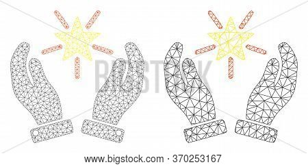 Mesh Vector Shine Star Care Hands Icon. Polygonal Wireframe Shine Star Care Hands Image In Lowpoly S