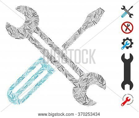 Line Collage Based On Spanner And Screwdriver Icon. Mosaic Vector Spanner And Screwdriver Is Compose