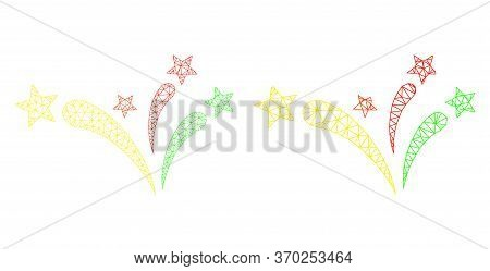 Mesh Vector Star Fireworks Icon. Mesh Wireframe Star Fireworks Image In Low Poly Style With Connecte